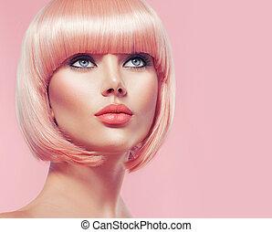 아름다운, 매력, 짧은 머리, 소녀, 블론드