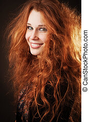 아름다운, 머리, 여자, 길게, 붉은머리딱따구리