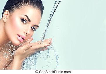 아름다운, 모델, 여자, 와, 튀김, 의, 물, 에서, 그녀, 손