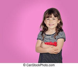 아름다운, 미소, 소녀, 숭비할 만한