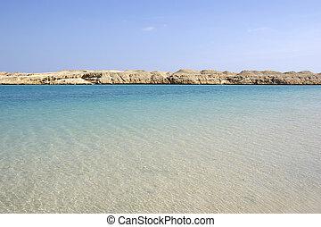 아름다운, 바다 경치, 와, 이집트 사람, desert.