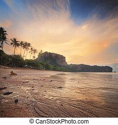 아름다운, 바닷가, 와, 다채로운, 하늘, 타이