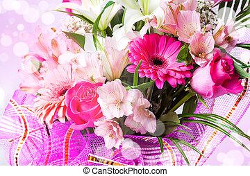 아름다운, 배경, 와, 꽃