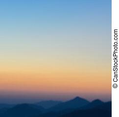 아름다운, 보이는 상태, 의, 일몰, 위의, 산
