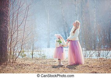 아름다운, 봄, 딸, 공원, 어머니