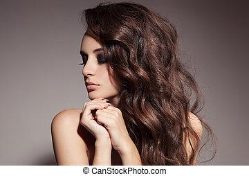 아름다운, 브루넷의 사람, 꼬부라진, 길게, hair., woman.