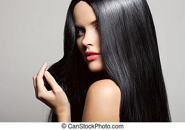 아름다운, 브루넷의 사람, 아름다움, 건강한, 길게, girl., w, hair., 모델