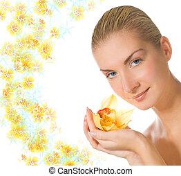 아름다운, 블론드인 사람, 소녀, 와, 난초, 꽃