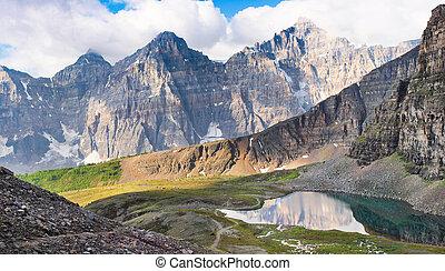 아름다운, 산 전경, 의, 로키 산맥, 에, 해돋이