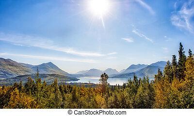 아름다운, 산, 전망, 의, 가을, 통하고 있는, skilak, 호수, 에서, 알래스카