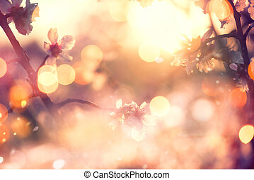 아름다운, 성격 장면, 와, 꽃 같은, 나무, 와..., 태양 불길