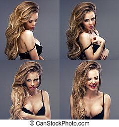 아름다운, 성적 매력이 있는, 블론드, 서 있는 여성, 착용하는 검정, 음탕한, 란제리, 복합어를 이루어...