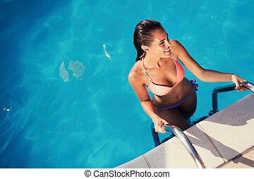 아름다운, 성적 매력이 있는, 소녀, 즐기, 여름 휴가