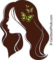 아름다운, 소녀, 와, 나비