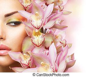 아름다운, 소녀, 와, 난초, flowers., 아름다움, 모델, 여성 얼굴