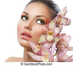 아름다운, 소녀, 와, 난초, flowers., 아름다움, 여성 얼굴
