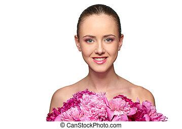 아름다운, 소녀, 와, 핑크, 작약, 꽃