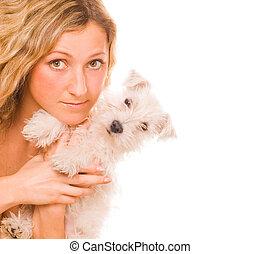 아름다운, 소녀, 와, a, 백색, 강아지