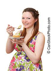아름다운, 소녀, 임신하고 있다, cake.