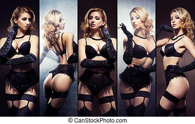 아름다운, 속옷, collection., 성적 사랑의, lingerie., 성적 매력이 있는, 여자