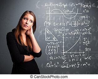 아름다운, 수학상의, 학교, 생각, 약, 복잡한, 표시, 소녀