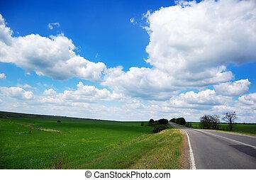 아름다운, 시골, road.