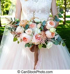아름다운, 신부, 꽃다발, 크게, 장미, 보유, outdoors.