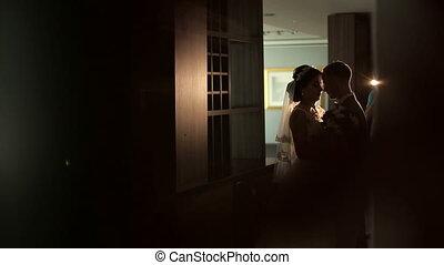 아름다운, 실루엣, 방, 한 쌍, 결혼식, interior.