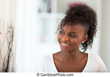 아름다운, 아메리카 흑인 여자, 초상, -, 검정, 사람