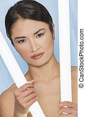 아름다운, 아시아 사람 여자, 또는, 소녀, 광천, 개념
