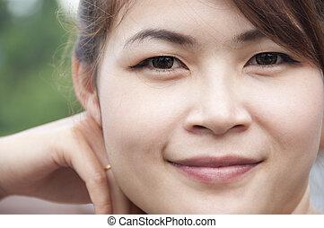 아름다운, 아시아 사람, woman.