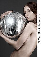 아름다운, 알몸의 여성, 와, 디스코 공