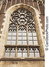 아름다운, 얼이z아bxx, olga, 가., 창문, 고딕 교회, 정면