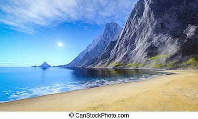 아름다운, 여름, 모래 바닷가