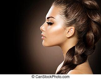 아름다운 여성, 건강한, 긴 머리, braid.