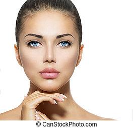 아름다운 여성, 그녀, 아름다움, 얼굴, 만지는 것, portrait., 광천