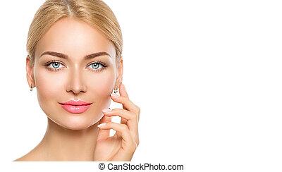 아름다운 여성, 그녀, 아름다움, face., 얼굴, 만지는 것, 광천, 모델, 소녀