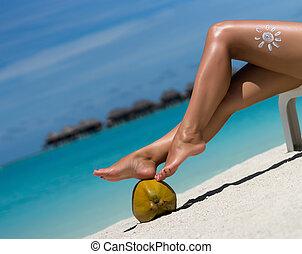 아름다운, 여성, 다리, 에서, 그만큼, 열대 바닷가, 개념상의 이미지, 의, 휴가