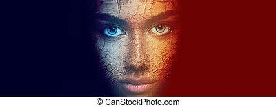 아름다운 여성, 다채로운, 나이 적은 편의, 얼굴 초상화, 음탕한
