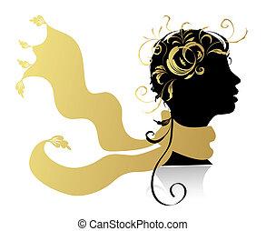 아름다운 여성, 머리, 실루엣