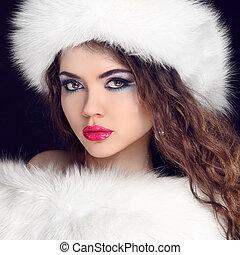 아름다운 여성, 모피, 겨울, 부드러운 털의, fashion., hat., 초상, 소녀