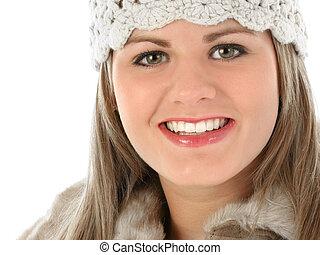 아름다운 여성, 모피 모자, 나이 적은 편의, 정돈되는, 상의, 뜨다