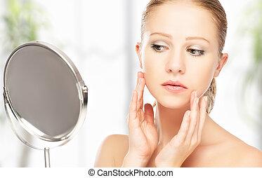 아름다운 여성, 반사, 건강한, 나이 적은 편의, 거울