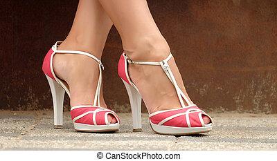 아름다운, 여성, 발