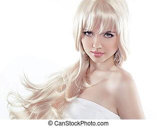 아름다운 여성, 블론드인 사람, 나이 적은 편의, 길게, 남자가 멋을 낸, hair., 모델, 은 자세를 취한다