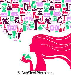 아름다운 여성, 실루엣, girl., 쇼핑, 판매, icons., 우아한, 유행 디자인, 유행
