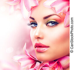 아름다운 여성, 아름다움, 얼굴, flowers., 소녀, 난초