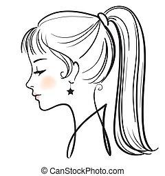 아름다운 여성, 얼굴, 벡터, 삽화