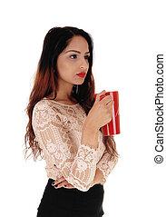아름다운 여성, 와, 빨강, 커피잔