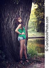 아름다운 여성, 와, 성적 매력이 있는, 긴 다리
